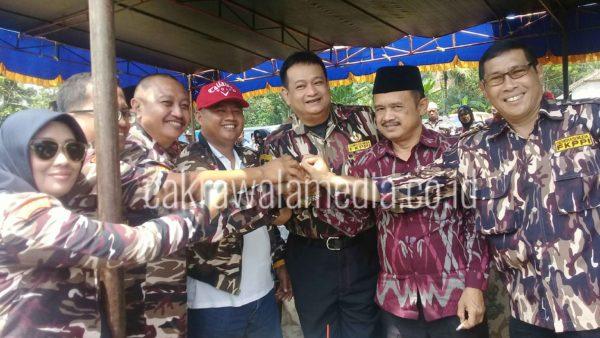 Bupati Uu Ruzhanul ulum saat mengikuti Hari ulang tahun FKPPI ke 39 di Cineam kab Tasikmalaya, Ahad ( 08/10). Foto bybdezaf