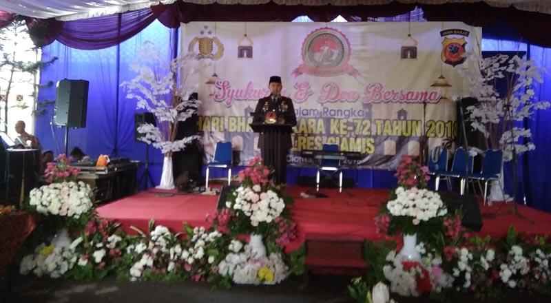Peringati Hut Bhayangkara ke-72, Kapolres Ciamis Bacakan 5 Instruksi Presiden