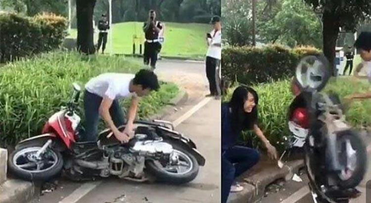 Tak Terima Ditilang, Pria Ini Nekad Merusak Motor Pacar
